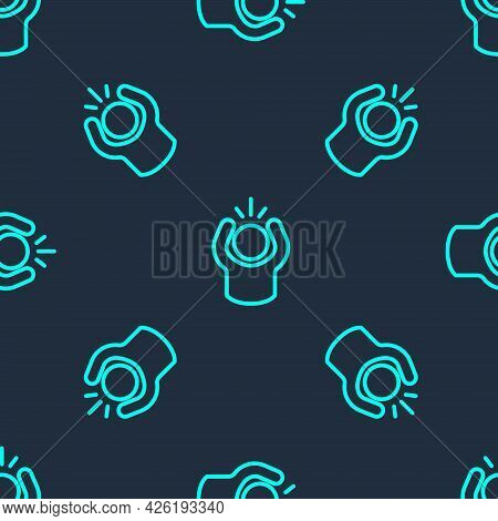 Green Line Anger Icon Isolated Seamless Pattern On Blue Background. Anger, Rage, Screaming Concept.