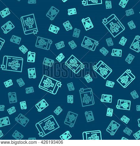 Green Line Psychology Book Icon Isolated Seamless Pattern On Blue Background. Psi Symbol. Mental Hea
