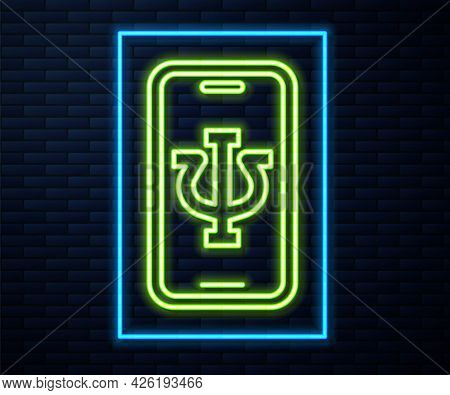 Glowing Neon Line Online Psychological Counseling Distance Icon Isolated On Brick Wall Background. P