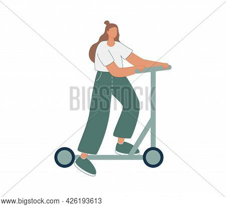 Vector Illustration With Woman Riding Kick Scooter. Cartoon Charcater.