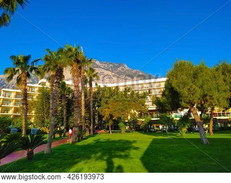 Beldibi, Kemer, Antalya, Turkey - May 11, 2021: The Territory Of The Rixos Beldibi Hotel