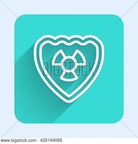 White Line Radioactive In Shield Icon Isolated With Long Shadow Background. Radioactive Toxic Symbol