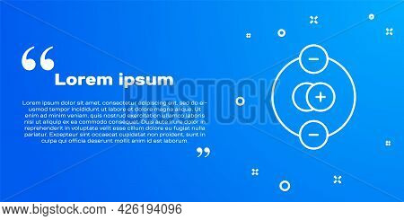 White Line Atom Icon Isolated On Blue Background. Symbol Of Science, Education, Nuclear Physics, Sci