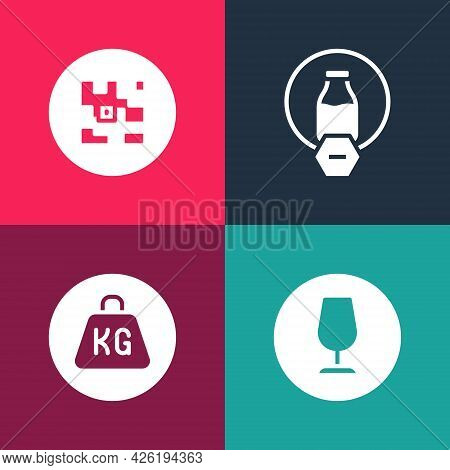 Set Pop Art Fragile Broken Glass, Weight, Lactose Free And Qr Code Icon. Vector