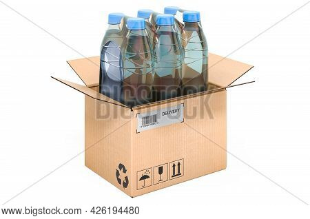 Water Bottles Wrapped In The Shrink Film Inside Cardboard Box, Delivery Concept. 3d Rendering Isolat