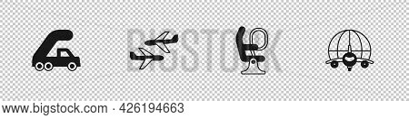 Set Passenger Ladder For Plane Boarding, Plane, Airplane Seat And Globe With Flying Icon. Vector
