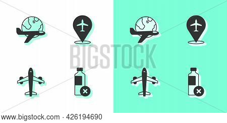Set No Water Bottle, Globe With Flying Plane, Plane And Icon. Vector