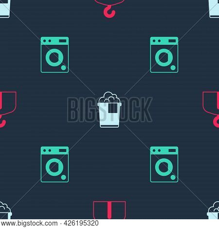 Set Hanger Wardrobe, Bucket With Foam And Washer On Seamless Pattern. Vector
