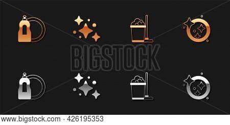 Set Dishwashing Liquid Bottle, Home Cleaning Service, Mop And Bucket And Washing Dishes Icon. Vector