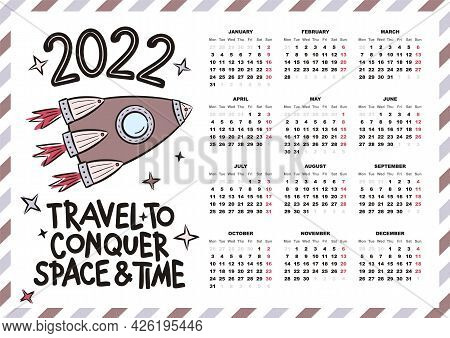 Airmail Calendar Template. 2022 Yearly Calendar. 12 Months Yearly Calendar Set In 2022. Hand Drawn R