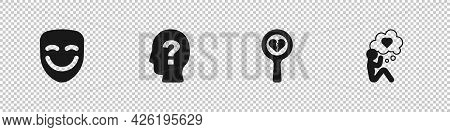 Set Comedy Theatrical Mask, Head With Question Mark, Broken Heart Or Divorce And Icon. Vector