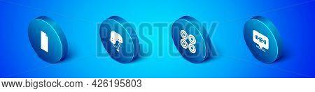 Set Isometric Grip Tape On A Skateboard, Skateboard Wheel, And Helmet Icon. Vector