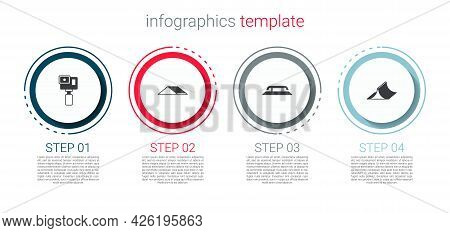 Set Action Camera, Skate Park, Skateboard Stairs With Rail And . Business Infographic Template. Vect