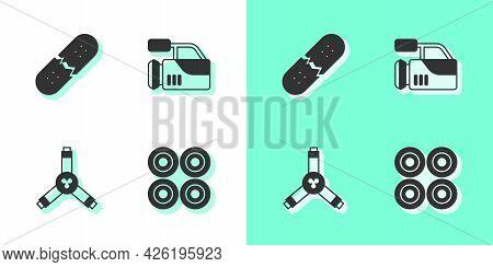 Set Skateboard Wheel, Broken Skateboard Deck, Y-tool And Cinema Camera Icon. Vector