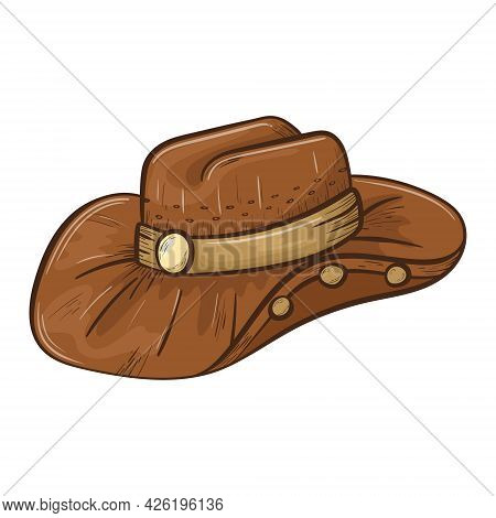 Simple Isolated Doodle Style Sticker. Brown Leather Cowboy Wide Brim Hat With Plaque And Badges. Wil
