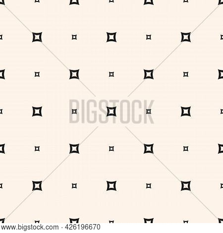 Vector Minimalist Seamless Pattern With Small Squares, Outline Shapes, Dots. Abstract Monochrome Geo
