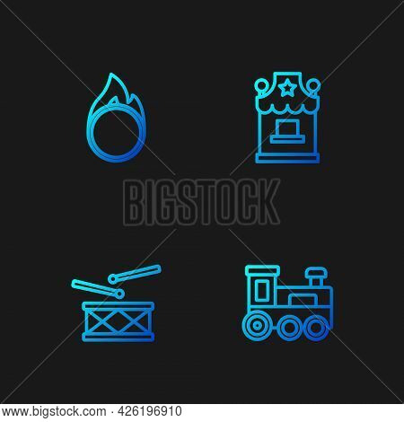 Set Line Toy Train, Drum With Drum Sticks, Circus Fire Hoop And Ticket Box Office. Gradient Color Ic
