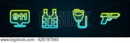 Set Line Telephone Call 911, Bulletproof Vest, Walkie Talkie And Pistol Or Gun. Glowing Neon Icon. V