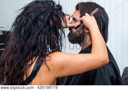 Mature Hipster With Beard And Moustache Care His Hair In Barbershop, Beard Grooming