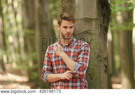 Unshaven Sexy Guy In Forest, Human And Nature