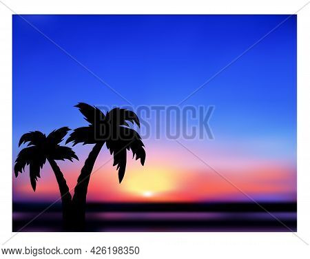 Sunrise. Tropical Abstract Landscape, Silhouettes Of Palm Trees.  Vector Illustration.