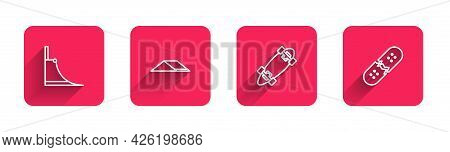 Set Line Skate Park, , Longboard Or Skateboard And Broken Deck With Long Shadow. Red Square Button.