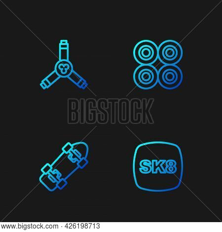 Set Line Skateboard, , Y-tool And Wheel. Gradient Color Icons. Vector