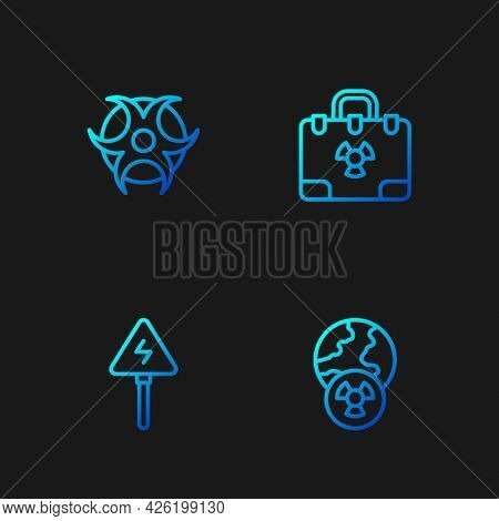 Set Line Planet Earth And Radiation, High Voltage Sign, Biohazard Symbol And Radiation Nuclear Suitc