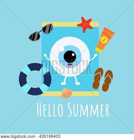 Cute Eye Ball Sunbathing On Sun Lounger With Sunscreen Starfish Lifebuoy Shell Slippers.