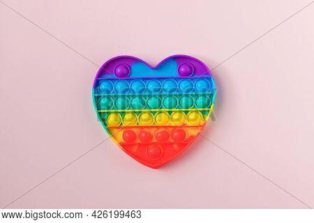 Colorful Anti-stress Fidget Push Pop It Sensory Toy For Children. Rainbow Square Fidget Toys Pop-it.