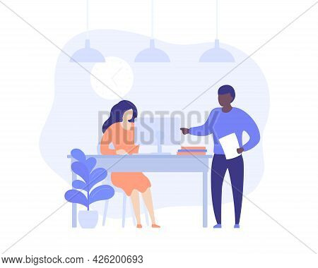 Supervisor And Employe Working At Computer, Vector