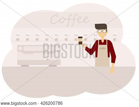 Vector Illustration Of Coffee Shop Interior And Barista Men With A Cup Of Coffee