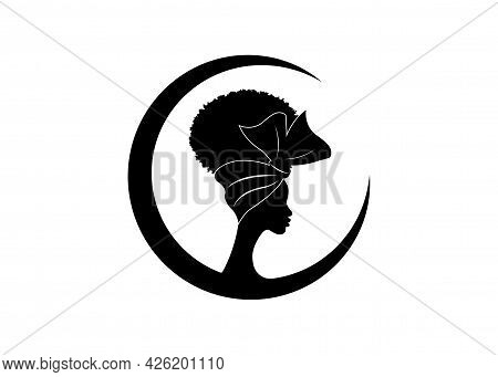 African American Woman Face Profile Wears Bandana For Curly Hairstyles. Round Logo Women Silhouette
