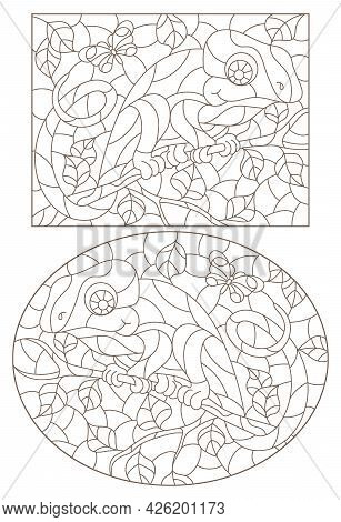 A Set Of Contour Illustrations In The Style Of Stained Glass With Abstract Chameleons, Dark Contours