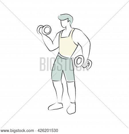 Vector Illustration Of Men Doing Exercise