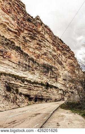 Cave Houses In Jorquera Village Mountain Range In Castile-la Mancha, Spain