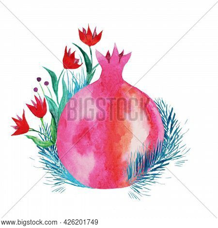 Red Pomegranate With A Sprig Of Thyme And Small Red Flowers With Green, Blue Petals, Abstract