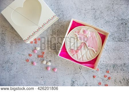 Baking Cookies Heart And Umbrella With Topping And Icing In A Gift Box. Top View On Marmoreal Backgr