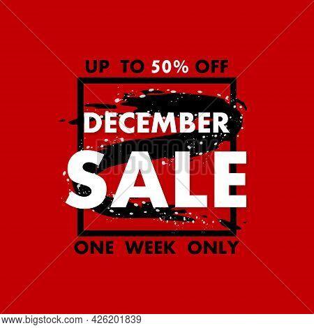 December Sale Banner On Red Background For Promotion Design. Sale Banner. Special Offer Price Sign.