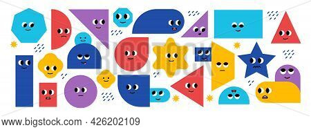 Set Of Bright Basic Geometric Shapes With Facial Emotions. Different Shapes. Cute Characters. Vector
