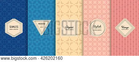 Vector Seamless Patterns Set. Collection Of Colorful Background Swatches With Elegant Minimal Labels