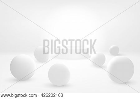 Abstract Futuristic 3d Background. White Cylinder Surrounded By White Balls On A White Surface. Whit