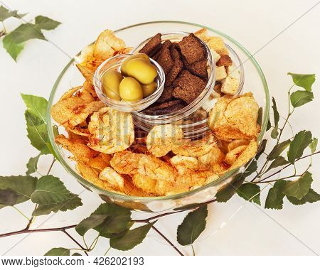 Summer, Food Composition With Beer, Solty Snacks: Rye Crackers, Wheat Crackers, Potato Chips With Sp