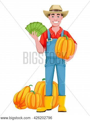 Handsome Man Farmer. Cheerful Male Farmer Cartoon Character With Pumpkins And Money. Stock Vector Il