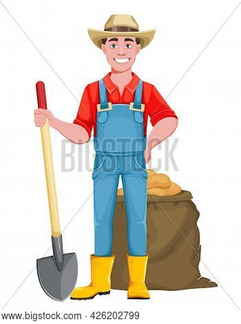 Handsome Man Farmer. Cheerful Male Farmer Cartoon Character With Shovel And A Bag Of Potatoes. Stock