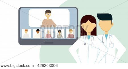 Vector Illustration Of Online Communication Of Two Doctors With Several People Through The Phone Scr