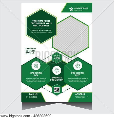 Green And White Promotional Creative Corporate Business Flyer Design Template