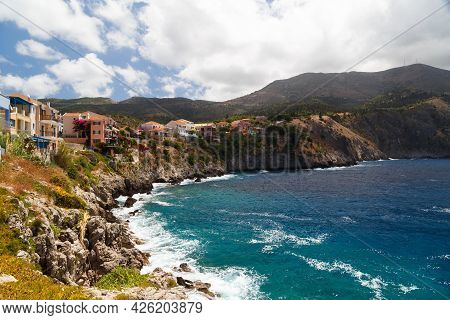 A View At The Coast Of Asos Village, Assos Peninsula And Fantastic Turquoise And Blue Ionian Sea Wat