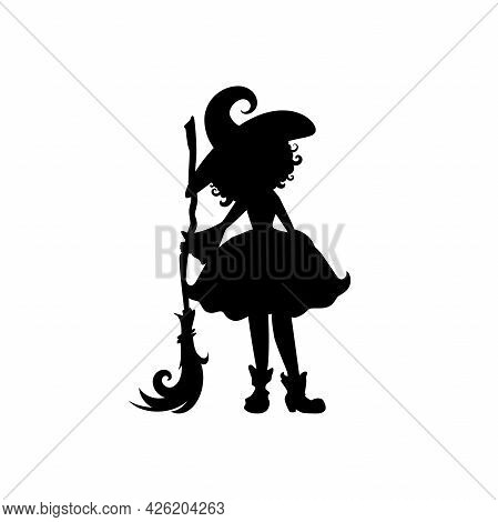 Witch With Broom. Funny Hag In Hat Silhouette. Magic, Fantasy. Vector Illustration. Halloween Night