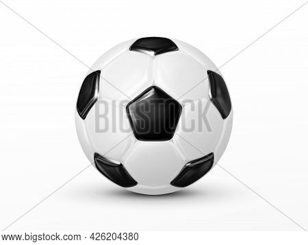 Glossy Soccer Ball Isolated On White Background. Classic Soccer-ball Made Of Black And White Polygon